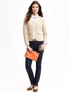 Women's Apparel 2013: outfits we love | Banana Republic [oxford shirt, textured knit lady jacket, Paige wristlet]