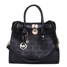 Cheap Michael Kors Hamilton Lock Signature Large Black Totes Clearance