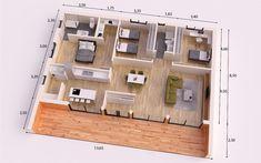 MODERNA DONACASA 150 M2 , Hormigón celular con trasdosado tejado plano House Floor Design, Sims House Design, Building A Container Home, Container House Design, Small House Plans, House Floor Plans, Modern Small House Design, 2 Bedroom House Plans, Apartment Floor Plans