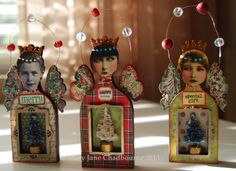 Holiday ornaments - Mary Jane Chadbourne/Desert Dream Studios, 2013. Just brilliant.