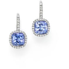 Tanzanite and Diamond Drop Earrings in 14K White Gold (11,905 CAD) ❤ liked on Polyvore featuring jewelry, earrings, white gold earrings, drop earrings, diamond drop earrings, tanzanite earrings and diamond earrings