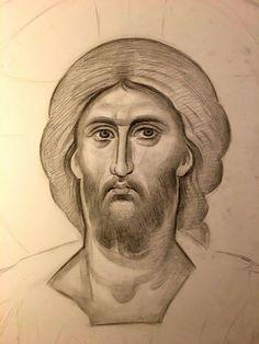 Byzantine Art, Byzantine Icons, Pencil Drawings, Art Drawings, Nose Drawing, Orthodox Icons, Painting Techniques, Jesus Christ, Sculptures