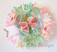 Aqua Cheetah Leopard Bow Gold Pink Aqua OTT Hair Bow Over The Top Bow Birthday Bow Girly on Etsy, $8.75
