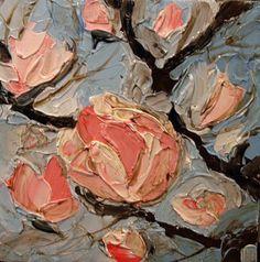 Magnolia flowers original oil painting on canvas palette knife