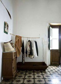 Tile floor, coat rack