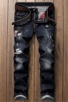 $33.12 Distressed Zip Fly Applique Jeans