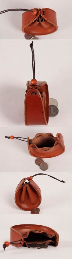 Leather Drawstring Pouch Coin Purse
