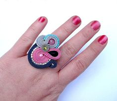 Adjustable Ring Soutache Jewelry Beaded Jewelry by StudioGianna,