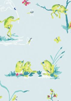 Resort Frogs #wallpaper in Blue from the #Resort collection by #Thibaut