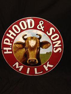 H.P. Hood & Sons Milk Vintage Porcelain Sign (Antique 1930 Dairy Jersey Belle Advertising Signs)