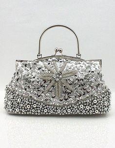 Silver Sequin Pearls Satin Womens Evening Bag - Wedding Handbags - Wedding