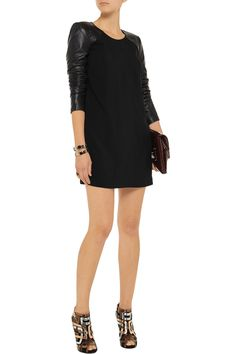 Mason by Michelle Mason Leather-sleeved woven mini dress - 64% Off Now at THE OUTNET
