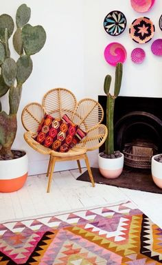 Learn how to incorporate this chic Southwestern style into your home with these easy tips from blogger Kelly, of Brit and Co. A mixture of bright colors and bold patterns give this living room an eclectic, vintage look. Use bright white walls as a neutral background that your colorful accent pieces can pop against.