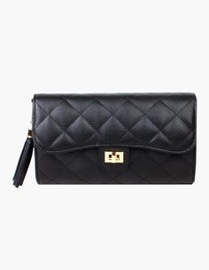 Luxurious Quilted Chain Cross & Shoulder Bag In Black #vovobag #fashion #black #classic #emboss #quilted #clutches