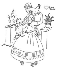 Vintage Embroidery Patterns senorita with a chicken on her head Embroidery Transfers, Hand Embroidery Patterns, Embroidery Thread, Embroidery Applique, Cross Stitch Embroidery, Machine Embroidery, Embroidery Designs, Embroidery Sampler, Mexican Embroidery
