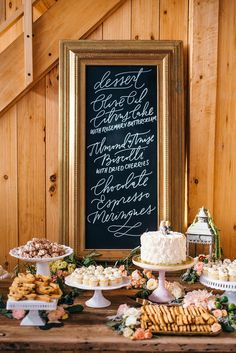 Desserts by Christina Bonnet, rustic display on a farmhouse table (inside the Hammersky barn), calligraphy by Rosey Calligraphy