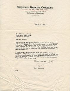 Review via letter to William A. Straub of the 1948 official grand opening of the present day Clayton location
