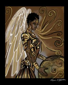 Pictures Of African Warrior Angels - angel warrior by kikicianjur on DeviantArt Black Love Art, Black Girl Art, Art Girl, Black Art Painting, Black Artwork, Black Art Pictures, Angel Pictures, Afro Punk, Black Fairy