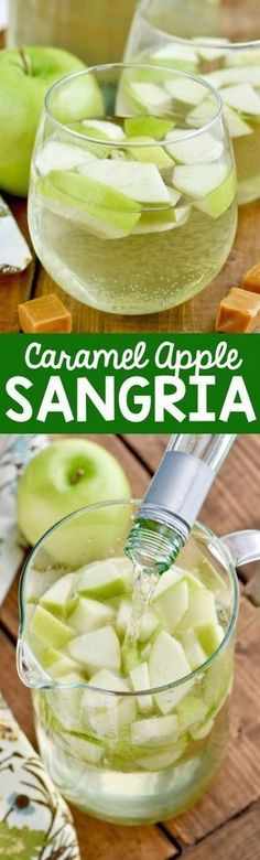 This Caramel Apple Sangria is only FOUR ingredients and it is delicious! It tastes just like a caramel apple!
