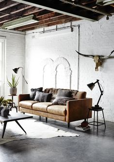 Mix leather with metal for a hardwearing, industrial look #barkerandstonehouse