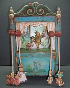 Wooden Table Top Peter Rabbit Toy Theater & 6 Hand by BlissMongers, $375.00