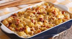 Carbonara i form- Bacon Potato Casserole, Sliced Potatoes, Bacon Recipes, Cooking Time, Baked Potato, Macaroni And Cheese, Main Dishes, Food And Drink, Stuffed Peppers