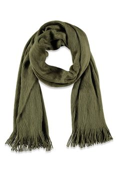 Striped-Trim Frayed Scarf | Forever 21 - 1000163374