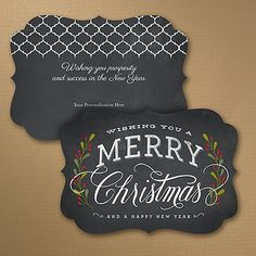 Chalkboard Christmas - Holiday Card Chalk it up to great holiday style! This chalkboard design holiday card wishes Merry Christmas in vintage style. You'll love its crest shape, too. Item Number:YU34820DC $185.00 Per 100