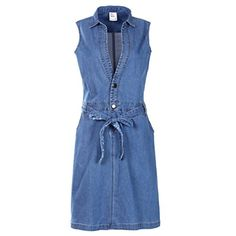 NONOSIZE Women's Sleeveless Casual Mini Dress Denim Jean Belted Dress(lb,s). 98%Cottom 2%Lycra, 9 oz Stretch denim.Jeans in the thin fabric. Lapel, sleeveless, two buttons. Denim dress with belt,pockets on both sides,knee length. Whether you are playing or traveling, this casual and sexy dress is suitable. Avoiding order the wrong size, We strongly suggest you to compare your detail size with our size chart before you buying,If your have doubt on dress size and don't know how to choose...