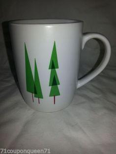 Starbucks-2011-White-3-Green-Christmas-Pine-Trees-Coffee-Mug-Rare