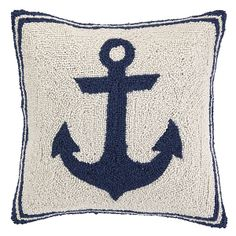 Anchor 16x16 Wool Pillow, Navy | Serene Shore House | One Kings Lane
