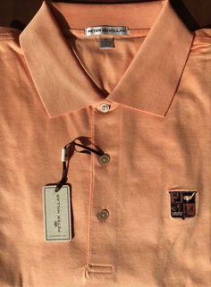 NEW Peter Millar Orange Cotton Golf Country Club Shield Logo Polo Shirt Size XL  | eBay