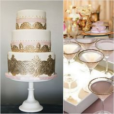 elaborate gold cake | Wedding Story Inspired By {The Great Gatsby} | Two Delighted