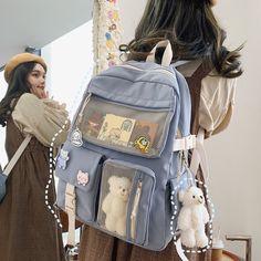 Mochila Preppy, Mochila Kpop, Cheap Backpacks, Cute Backpacks, School Backpacks, Stylish School Bags, Aesthetic Backpack, Kawaii Bags, Backpack For Teens