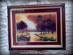 Landscape watercolor Painting of open field and by STUFFEZES