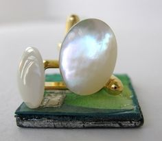 Cufflinks Vintage Ivory Mother of Pearl Gold by BumbershootDesigns, $19.50