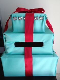 Tiffany Blue (seafoam) And Red Card Box | Recycled Bride