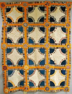 "Pieced Cotton ""New York Beauty"" Variant Quilt 