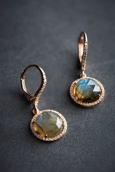 Liven Co. Labradorite and Diamond Round Drops in 14k Rose Gold #AnthroFave
