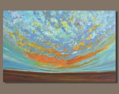 TITLE: Sunburst ***FREE SHIPPING to USA and Canada*** ***Reduced Shipping to UK*** ***OTHER INTERNATIONAL DESTINATIONS please contact me for a shipping quote. I can offer a reduced rate for surface delivery*** Original painting, acrylic abstract art, abstract painting hand painted by the artist. DESCRIPTION: This is a lovely expressive sunset painting with loads of brushwork and vibrant colours. The main colours are a mix of turquoise and orange with some deep red and earthy brown/g...