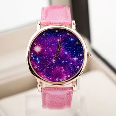 2016 New Fashion Watch Women Star and Sky Pattern Rhinestone Casual Quartz Watch Ladies Popular Leather Strap Elegant Wristwatch Retro Watches, Vintage Watches, Ladies Watches, Nixon Watches, Girl Watches, Teen Watches, Female Watches, Rolex Watches, Mode Kawaii