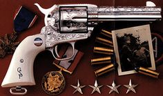 General George S. Patton's Colt .45 revolver (shown here in replica). Serial Number 332088.  Shipped on 4 March 1916. He bought the original for $ 50.00!!