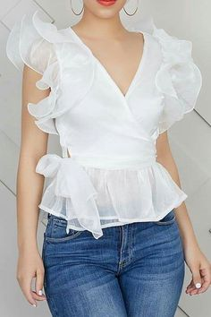 Ruffle Sleeve See-Through Plain V-Neck Short Sleeve Women's Blouse Blous. - Ruffle Sleeve See-Through Plain V-Neck Short Sleeve Women's Blouse Blouse tops - Blouse Styles, Blouse Designs, Modest Fashion, Fashion Dresses, Fashion Blouses, Dress Outfits, Casual Outfits, Ruffle Sleeve, Blouses For Women