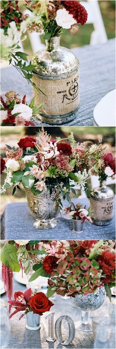 Wine-hued flowers, floral arrangement, red & silver, mercury glass votives, vintage vase, amaranth & chrysanthemums // Damion Hamilton Photographer