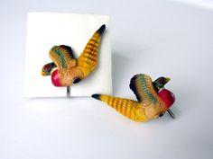 Carved Pheasant Earrings Colorful Resin by SunburyVintageStore