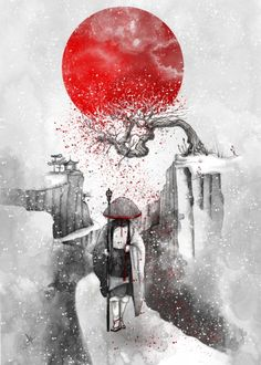 The Journey Art Print by Marine Loup. Bright red sun over oriental snow landscape, walking in the snow. Art drawing in greys and red.