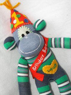 Musical Birthday Boy or Girl Sock Monkey by AsYouWishCreations4u, $34.00