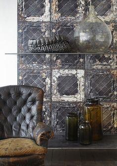 American Tin Tiles Wallpaper Black