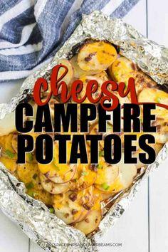 Campfire Potatoes - Spaceships and Laser Beams Campfire Meals Foil, Tin Foil Meals, Foil Pack Meals, Campfire Food, Camping Meals, Campfire Recipes, Camping Tricks, Camping Cooking, Backpacking Food