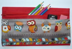 Back to School Handmade Pencil Case Red by Merrysewingnfabric, $6.50